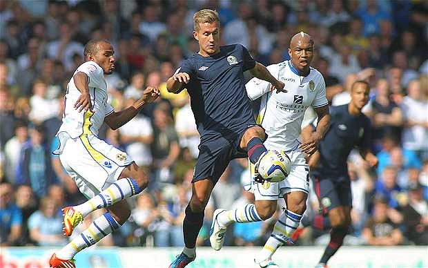 Morten Gamst Pedersen in action against Leeds United while playing for Blackburn Rovers